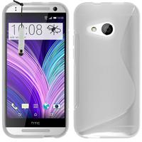 HTC One mini 2/ M8 Mini: Accessoire Housse Etui Pochette Coque Silicone Gel motif S Line + mini Stylet - TRANSPARENT