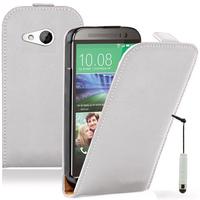 HTC One mini 2/ M8 Mini: Accessoire Housse Coque Pochette Etui protection vrai cuir à rabat vertical + mini Stylet - BLANC