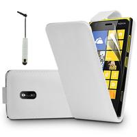 Nokia Asha 503: Accessoire Etui Housse Coque Pochette simili cuir à rabat vertical + mini Stylet - BLANC