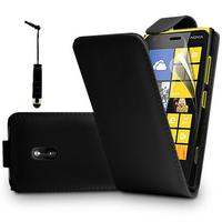 Nokia Asha 503: Accessoire Etui Housse Coque Pochette simili cuir à rabat vertical + mini Stylet - NOIR