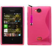 Nokia Asha 503: Accessoire Housse Etui Pochette Coque Silicone Gel motif S Line + mini Stylet - ROSE
