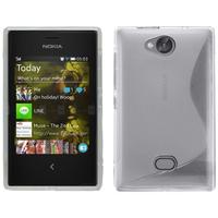 Nokia Asha 503: Accessoire Housse Etui Pochette Coque Silicone Gel motif S Line - TRANSPARENT
