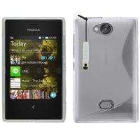 Nokia Asha 503: Accessoire Housse Etui Pochette Coque Silicone Gel motif S Line + mini Stylet - TRANSPARENT