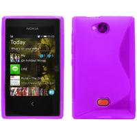 Nokia Asha 503: Accessoire Housse Etui Pochette Coque Silicone Gel motif S Line - VIOLET