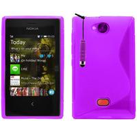 Nokia Asha 503: Accessoire Housse Etui Pochette Coque Silicone Gel motif S Line + mini Stylet - VIOLET