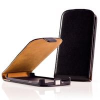 Nokia Asha 503: Accessoire Housse Coque Pochette Etui protection vrai cuir à rabat vertical - NOIR