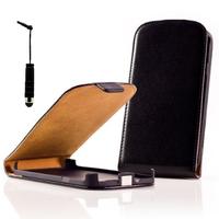 Nokia Asha 503: Accessoire Housse Coque Pochette Etui protection vrai cuir à rabat vertical + mini Stylet - NOIR