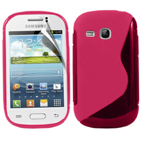 Samsung Galaxy Young S6310 Duos S6312 GT-S6310L: Accessoire Housse Etui Pochette Coque Silicone Gel motif S Line - ROSE