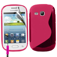 Samsung Galaxy Young S6310 Duos S6312 GT-S6310L: Accessoire Housse Etui Pochette Coque Silicone Gel motif S Line + mini Stylet - ROSE
