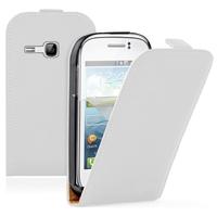 Samsung Galaxy Young S6310 Duos S6312 GT-S6310L: Accessoire Housse Coque Pochette Etui protection vrai cuir à rabat vertical - BLANC