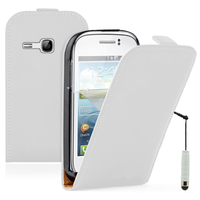 Samsung Galaxy Young S6310 Duos S6312 GT-S6310L: Accessoire Housse Coque Pochette Etui protection vrai cuir à rabat vertical + mini Stylet - BLANC