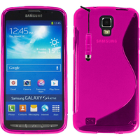 Samsung Galaxy S4 Active I9295/ I537 LTE: Accessoire Housse Etui Pochette Coque Silicone Gel motif S Line + mini Stylet - ROSE
