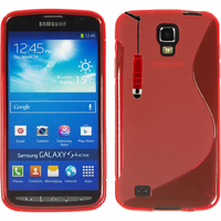 Samsung Galaxy S4 Active I9295/ I537 LTE: Accessoire Housse Etui Pochette Coque Silicone Gel motif S Line + mini Stylet - ROUGE