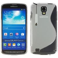 Samsung Galaxy S4 Active I9295/ I537 LTE: Accessoire Housse Etui Pochette Coque Silicone Gel motif S Line + mini Stylet - TRANSPARENT