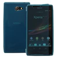 Sony Xperia M2 Aqua D2403 D2406: Accessoire Etui Housse Pochette Coque silicone gel Portefeuille Livre rabat - BLEU