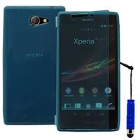 Sony Xperia M2 Aqua D2403 D2406: Accessoire Etui Housse Pochette Coque silicone gel Portefeuille Livre rabat + mini Stylet - BLEU