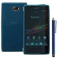 Sony Xperia M2 Aqua D2403 D2406: Accessoire Etui Housse Pochette Coque silicone gel Portefeuille Livre rabat + Stylet - BLEU