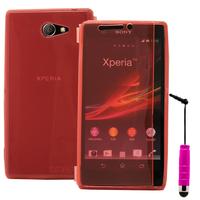 Sony Xperia M2 Aqua D2403 D2406: Accessoire Etui Housse Pochette Coque silicone gel Portefeuille Livre rabat + mini Stylet - ROSE