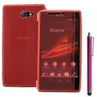 Sony Xperia M2 Aqua D2403 D2406: Accessoire Etui Housse Pochette Coque silicone gel Portefeuille Livre rabat + Stylet - ROSE