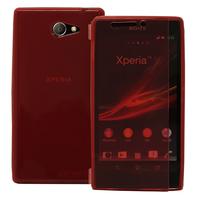 Sony Xperia M2 Aqua D2403 D2406: Accessoire Etui Housse Pochette Coque silicone gel Portefeuille Livre rabat - ROUGE