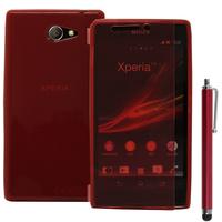 Sony Xperia M2 Aqua D2403 D2406: Accessoire Etui Housse Pochette Coque silicone gel Portefeuille Livre rabat + Stylet - ROUGE