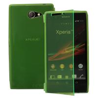 Sony Xperia M2 Aqua D2403 D2406: Accessoire Etui Housse Pochette Coque silicone gel Portefeuille Livre rabat - VERT