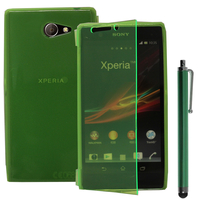Sony Xperia M2 Aqua D2403 D2406: Accessoire Etui Housse Pochette Coque silicone gel Portefeuille Livre rabat + Stylet - VERT