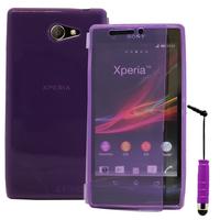 Sony Xperia M2 Aqua D2403 D2406: Accessoire Etui Housse Pochette Coque silicone gel Portefeuille Livre rabat + mini Stylet - VIOLET