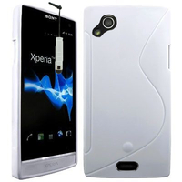 Sony Xperia Arc X12 Lt15i LT15a/ Arc S LT18i LT18a: Accessoire Housse Etui Pochette Coque Silicone Gel motif S Line + mini Stylet - BLANC