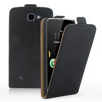 LG K4 K120E/ K130E/ K121: Accessoire Housse Coque Pochette Etui protection vrai cuir à rabat vertical - NOIR