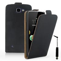 LG K4 K120E/ K130E/ K121: Accessoire Housse Coque Pochette Etui protection vrai cuir à rabat vertical + mini Stylet - NOIR