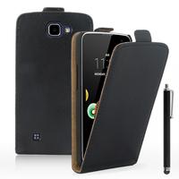 LG K4 K120E/ K130E/ K121: Accessoire Housse Coque Pochette Etui protection vrai cuir à rabat vertical + Stylet - NOIR