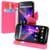 Wiko Wax/ Wax 4G: Accessoire Etui portefeuille Livre Housse Coque Pochette support vidéo cuir PU effet tissu - ROSE