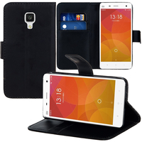 Xiaomi Mi 4/ Mi 4 LTE: Accessoire Etui portefeuille Livre Housse Coque Pochette support vidéo cuir PU - NOIR
