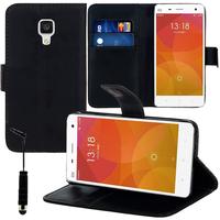 Xiaomi Mi 4/ Mi 4 LTE: Accessoire Etui portefeuille Livre Housse Coque Pochette support vidéo cuir PU + mini Stylet - NOIR