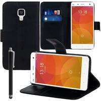 Xiaomi Mi 4/ Mi 4 LTE: Accessoire Etui portefeuille Livre Housse Coque Pochette support vidéo cuir PU + Stylet - NOIR