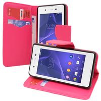 Sony Xperia E3/ E3 Dual D2212 D2203 D2243 D2206 D2202: Accessoire Etui portefeuille Livre Housse Coque Pochette support vidéo cuir PU effet tissu - ROSE