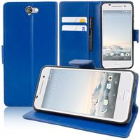 HTC One A9: Accessoire Etui portefeuille Livre Housse Coque Pochette support vidéo cuir PU - BLEU FONCE