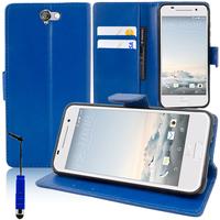 HTC One A9: Accessoire Etui portefeuille Livre Housse Coque Pochette support vidéo cuir PU + mini Stylet - BLEU FONCE
