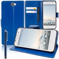 HTC One A9: Accessoire Etui portefeuille Livre Housse Coque Pochette support vidéo cuir PU + Stylet - BLEU FONCE