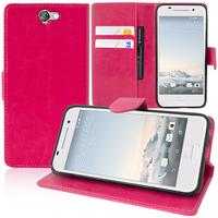 HTC One A9: Accessoire Etui portefeuille Livre Housse Coque Pochette support vidéo cuir PU - ROSE