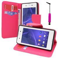 Sony Xperia E3/ E3 Dual D2212 D2203 D2243 D2206 D2202: Accessoire Etui portefeuille Livre Housse Coque Pochette support vidéo cuir PU effet tissu + mini Stylet - ROSE