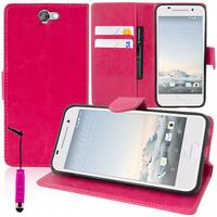 HTC One A9: Accessoire Etui portefeuille Livre Housse Coque Pochette support vidéo cuir PU + mini Stylet - ROSE