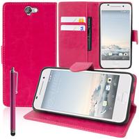 HTC One A9: Accessoire Etui portefeuille Livre Housse Coque Pochette support vidéo cuir PU + Stylet - ROSE