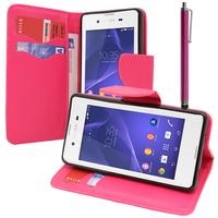 Sony Xperia E3/ E3 Dual D2212 D2203 D2243 D2206 D2202: Accessoire Etui portefeuille Livre Housse Coque Pochette support vidéo cuir PU effet tissu + Stylet - ROSE