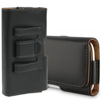 Huawei Honor 7/ 7 Enhanced Edition/ 7 Dual SIM: Etui Housse UNIVERSEL en simili cuir haute qualité avec clip ceinture - NOIR