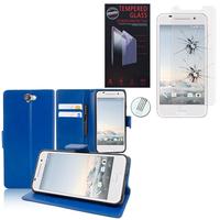 HTC One A9: Etui Coque Housse Pochette Accessoires portefeuille support video cuir PU - BLEU FONCE + 1 Film de protection d'écran Verre Trempé