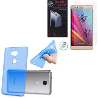 Huawei Honor 5X/ Honor X5/ Huawei GR5: Etui Housse Pochette Accessoires Coque gel UltraSlim - BLEU + 1 Film de protection d'écran Verre Trempé