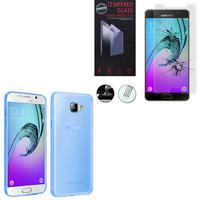 Samsung Galaxy A5 (2016) SM-A510F A510M A510FD A5100 A510Y (non compatible Galaxy A5 (2015)): Etui Housse Pochette Accessoires Coque gel UltraSlim - BLEU + 1 Film de protection d'écran Verre Trempé