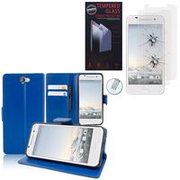 HTC One A9: Etui Coque Housse Pochette Accessoires portefeuille support video cuir PU - BLEU FONCE + 2 Films de protection d'écran Verre Trempé